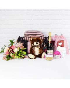 THE LITTLE LADY GIFT SET WITH CHAMPAGNE, baby girl gift hamper, newborns, new parents