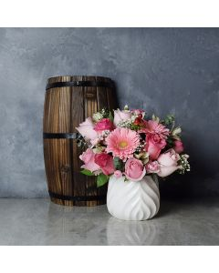 Rose Assortment with Vase, floral gift baskets, Valentine's Day gifts, gift baskets, romance
