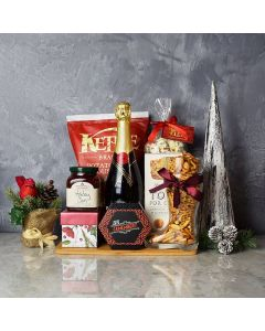 Holiday Champagne & Cheese Snack Basket