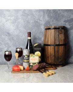 Cheese & Salami Gift Set with Wine, wine gift baskets, gourmet gift baskets, gift baskets, gourmet gifts
