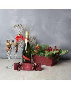 Truffles & Champagne Set, champagne gift baskets, Christmas gift baskets, gourmet gift baskets