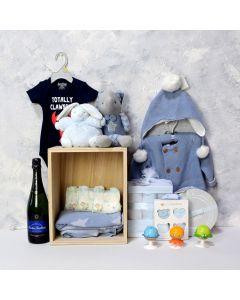 BABY BLUE CELEBRATION GIFT SET WITH CHAMPAGNE, baby boy gift hamper, newborns, new parents