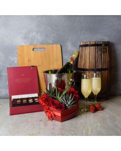 Bermondsey Valentine's Day Gift Basket, champagne gift baskets, floral gift baskets, gift baskets, Valentine's Day gift baskets