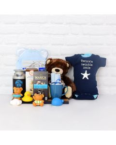 SOFT & SNUGGLY BABY BOY BATH TIME SET, baby gift basket, welcome home baby gifts, new parent gifts