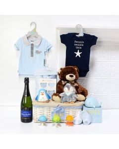 Deluxe Baby Boy Celebration Set, baby gift baskets, baby boy, baby gift, new parent, baby , champagne